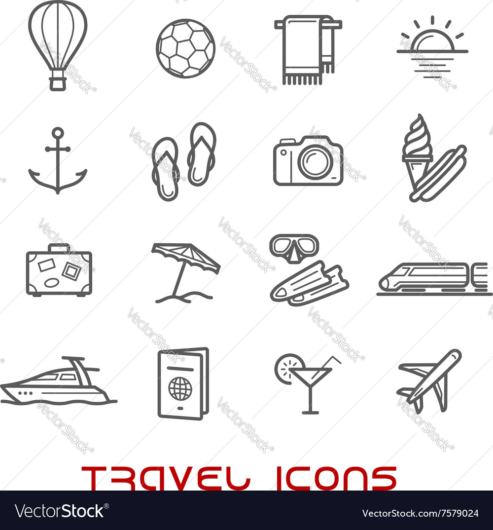 Travel and leisure thin line icons vector