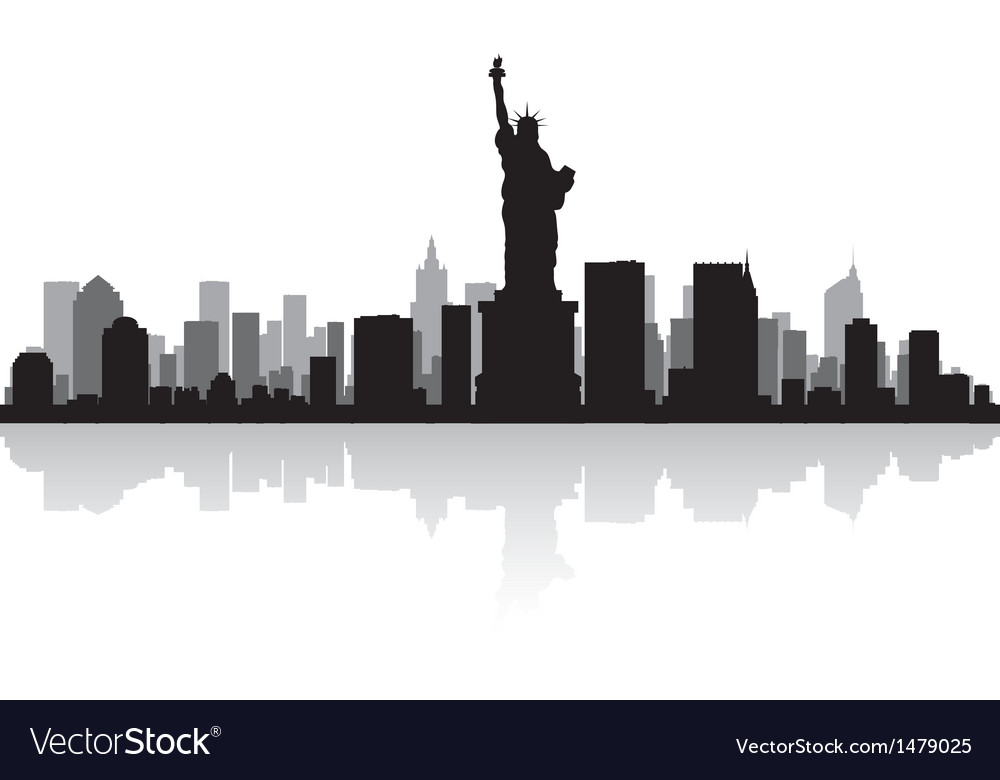 New york usa city skyline silhouette vector