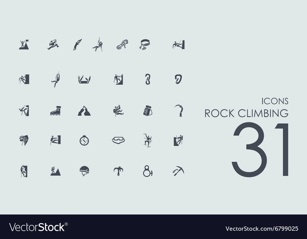 Set of rock climbing icons vector