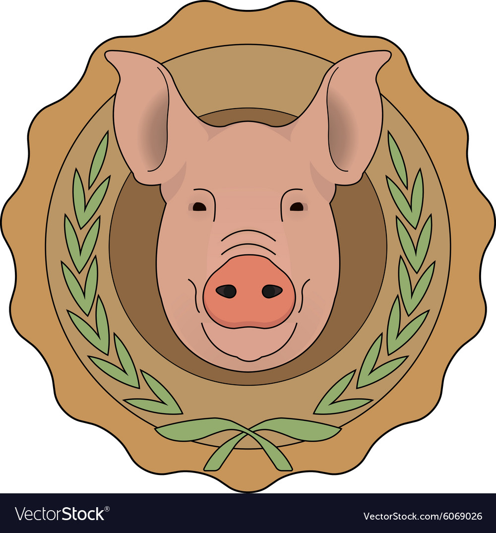 Butchery eco logo pig head in laurel wreath vector