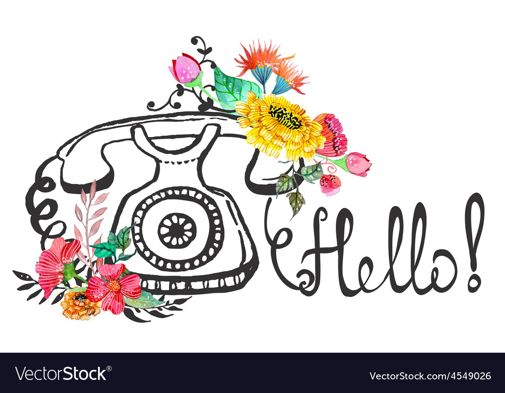 Retro graphic phone and watercolor flowers vector