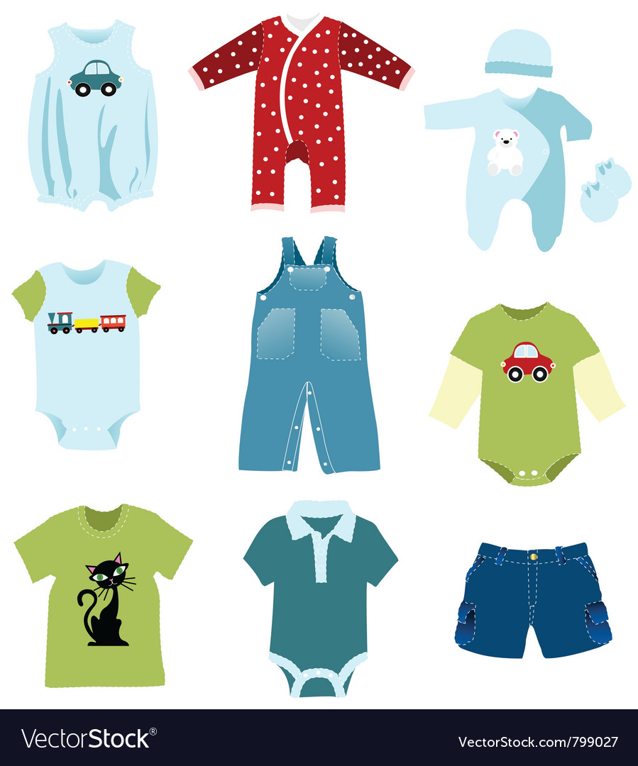 Baby boy elements clothes vector