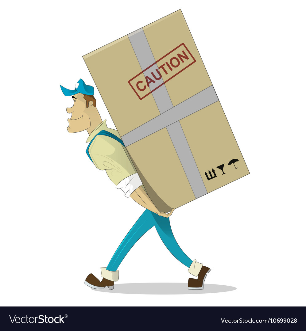 Cartoon image of porter man in blue cap vector