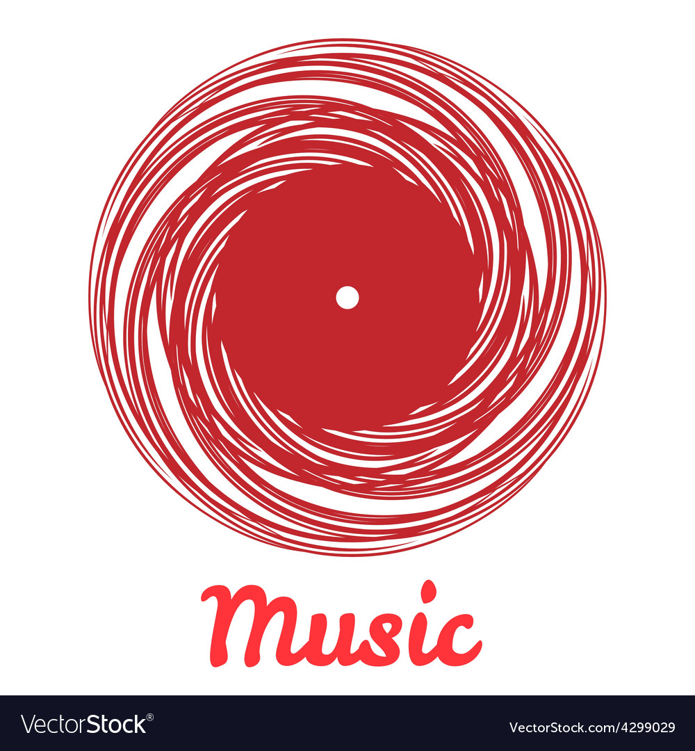 Stylized monochrome music vinyl record logo vector