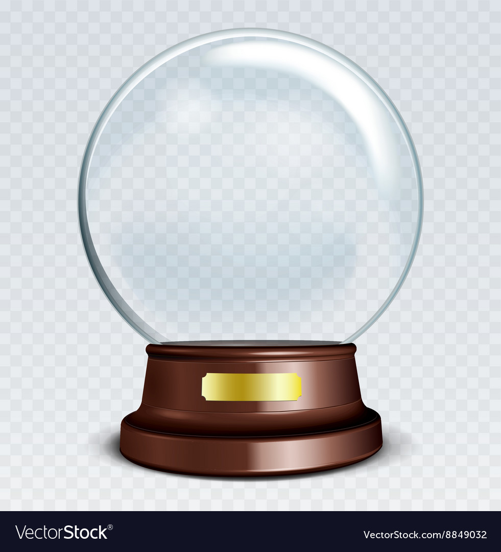 Empty snow globe white transparent glass sphere on vector