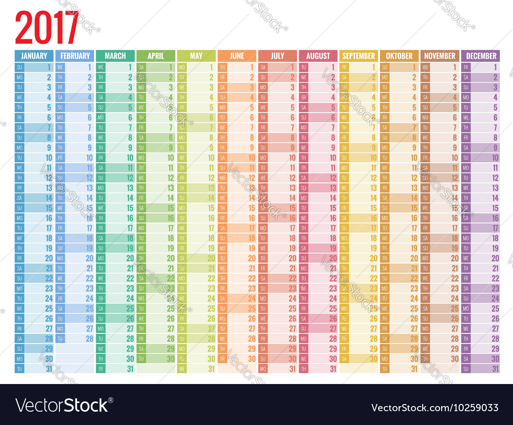 Calendar simple flat design 2017 vector