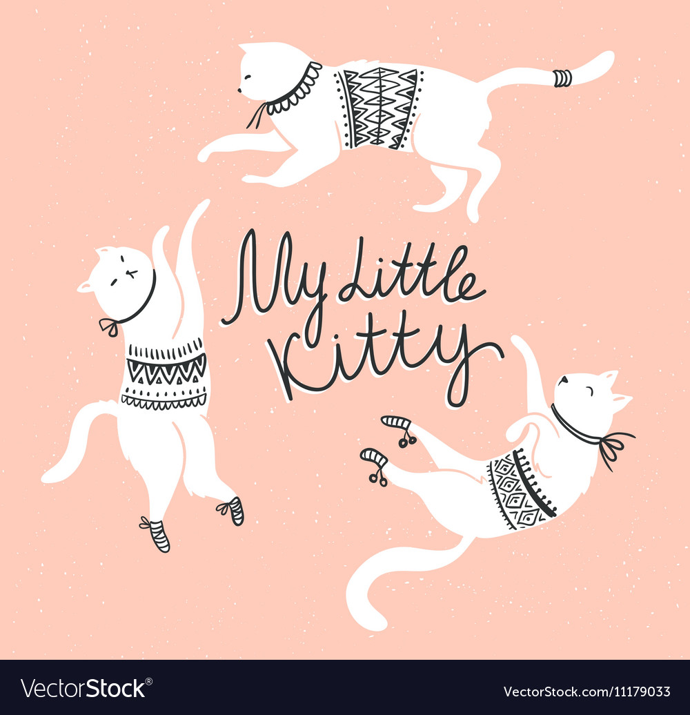 Card with cute white cats and stylish lettering my vector