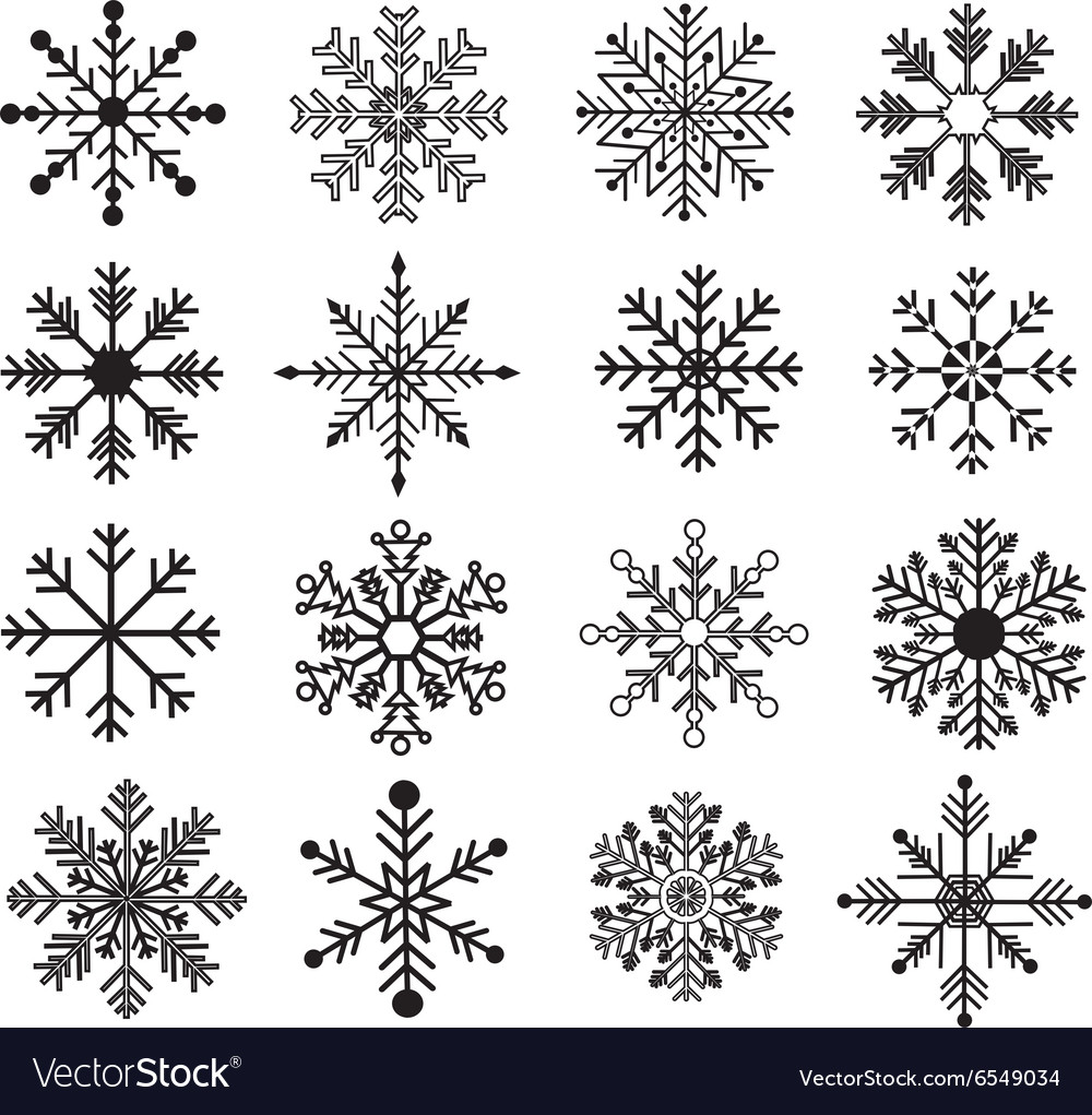 Black snowflakes silhouette set vector