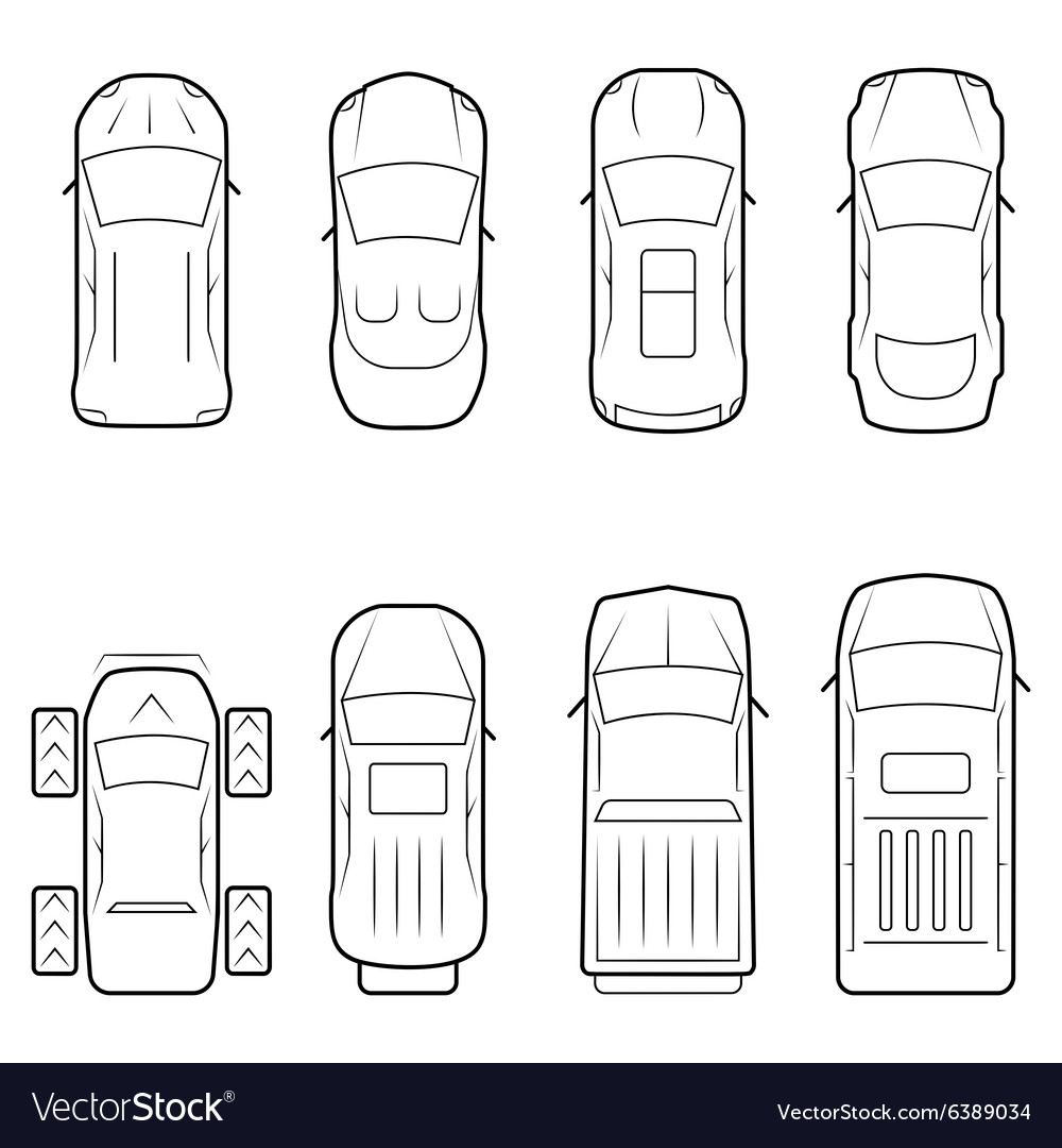 Cars icon set in thin line style top view vector