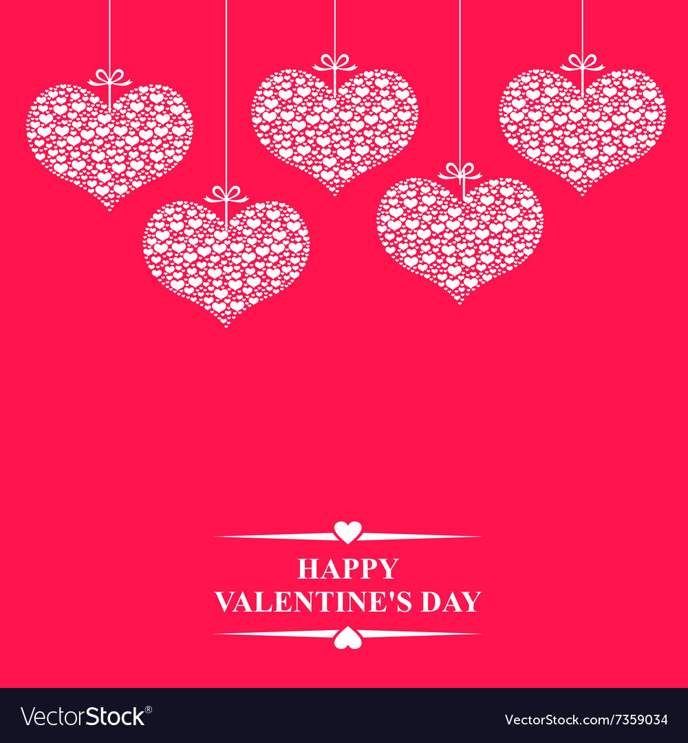 Hearts bow hanging pink vector