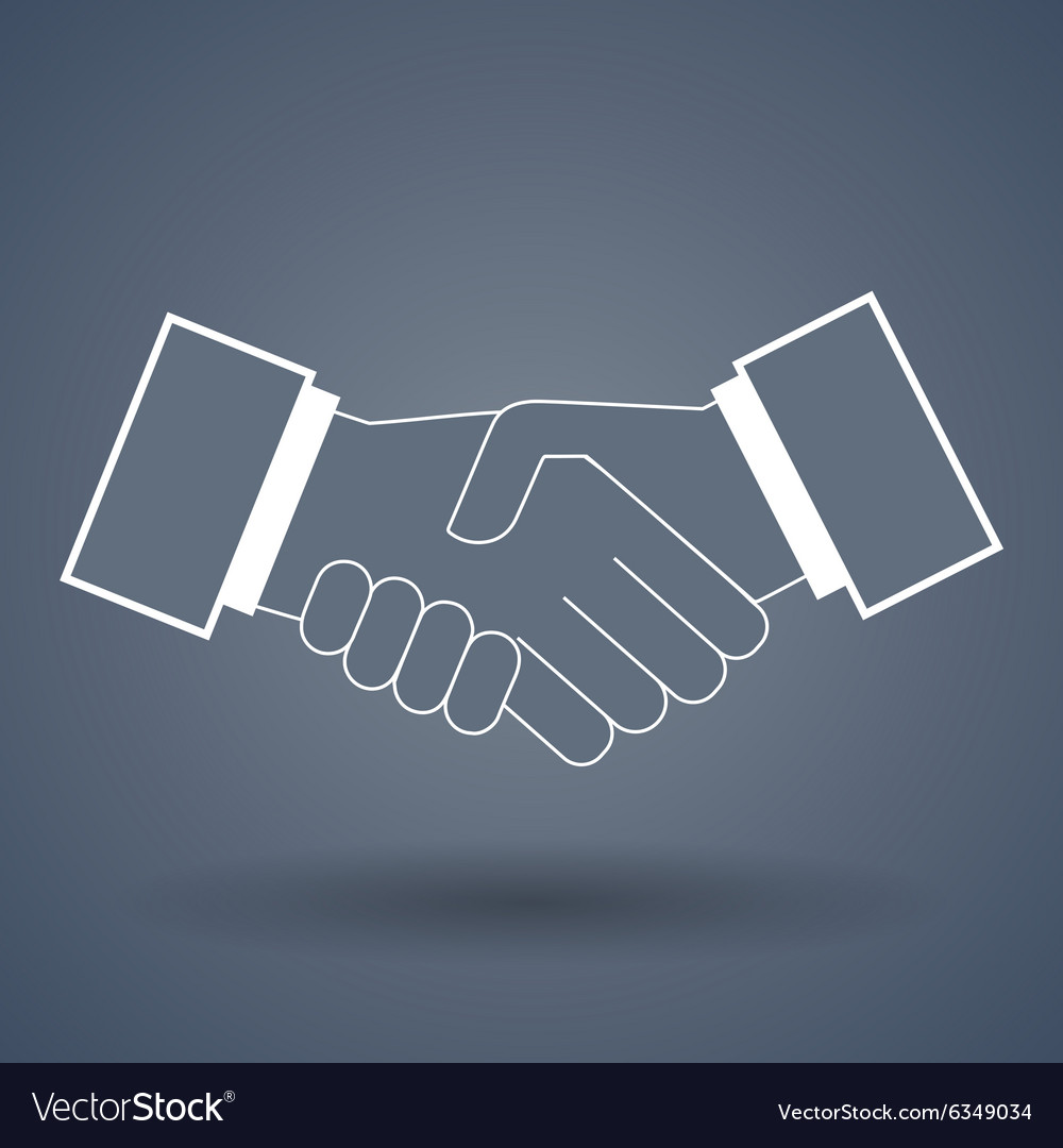 Shake hand line icon vector
