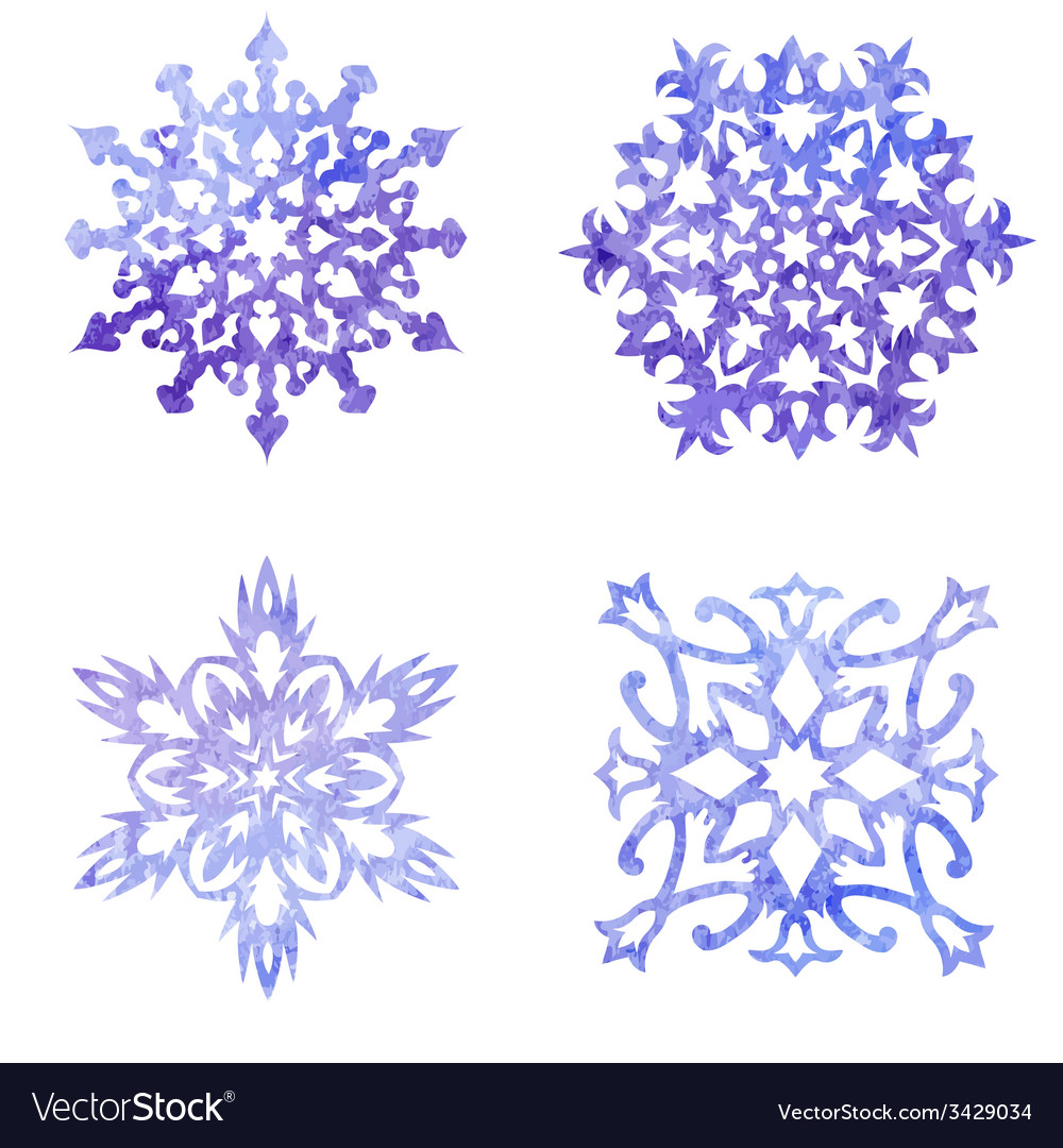 Watercolor blue painted set of christmas vector