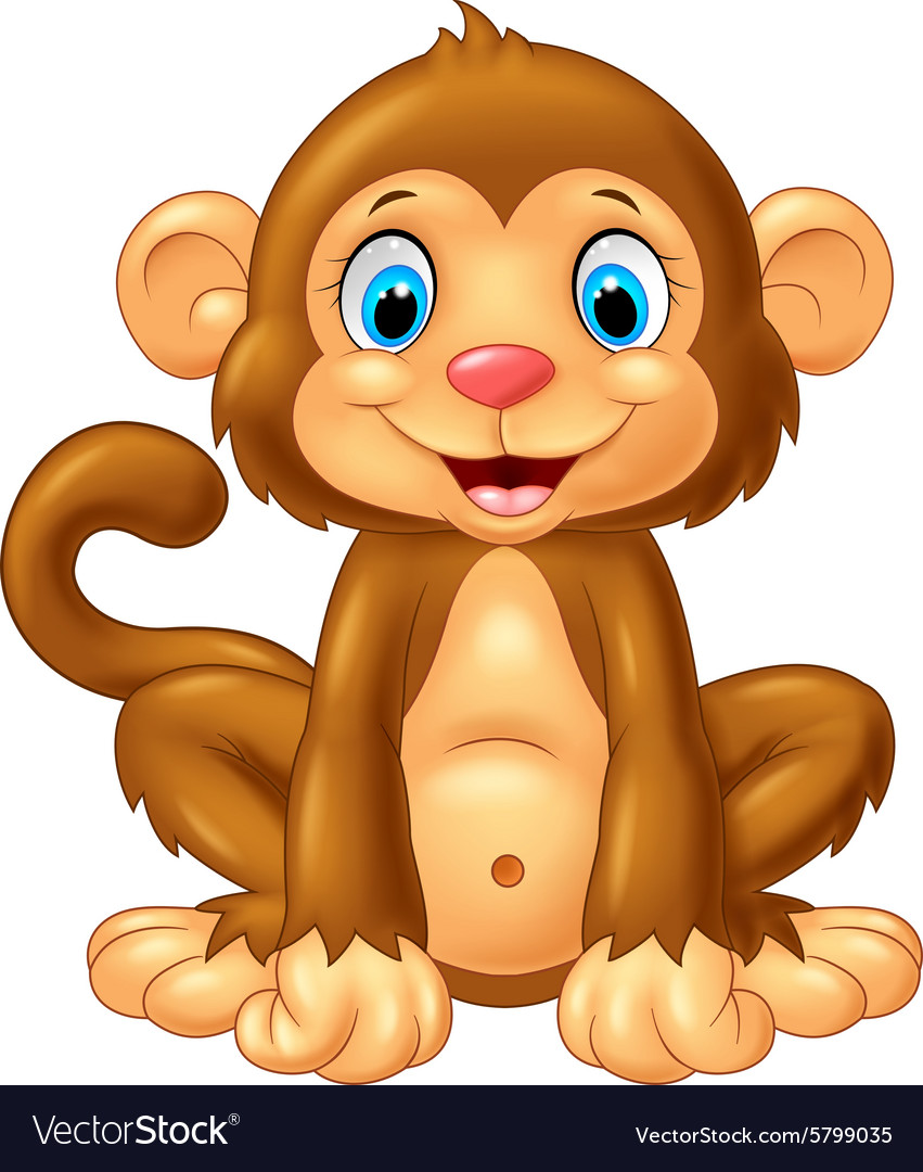 Cartoon cute monkey sitting on white background vector