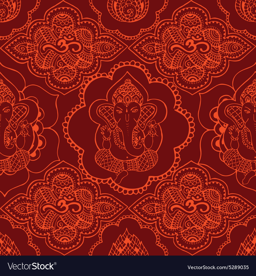 Indian seamless pattern with ornament vector