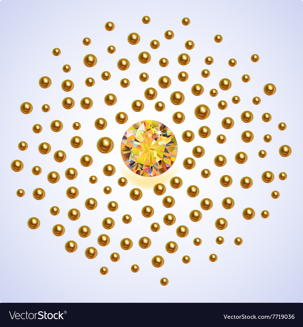 Gold pearls scattered around vector