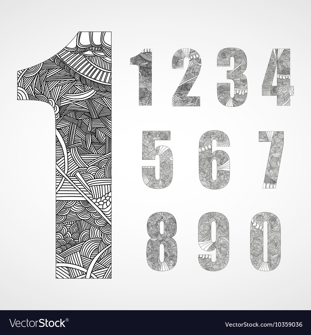Set of number with hand drawn abstract doodle vector