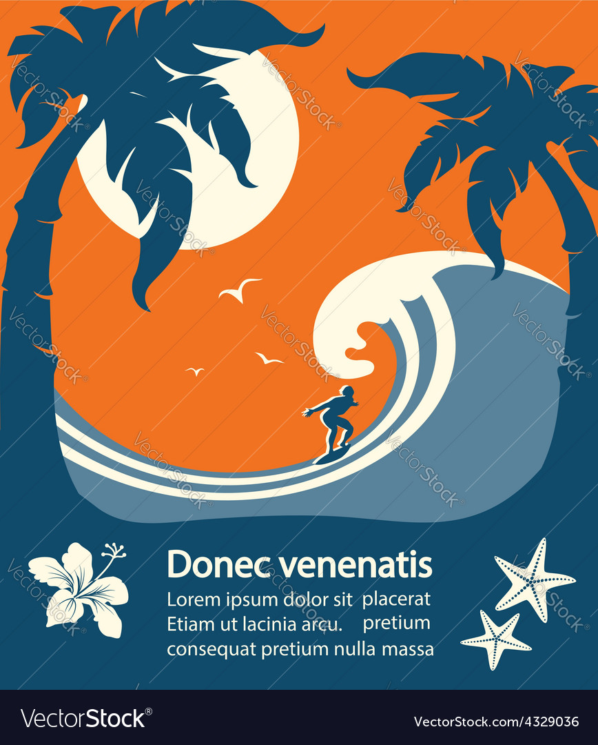 Surfer and big sea wave tropical island vector