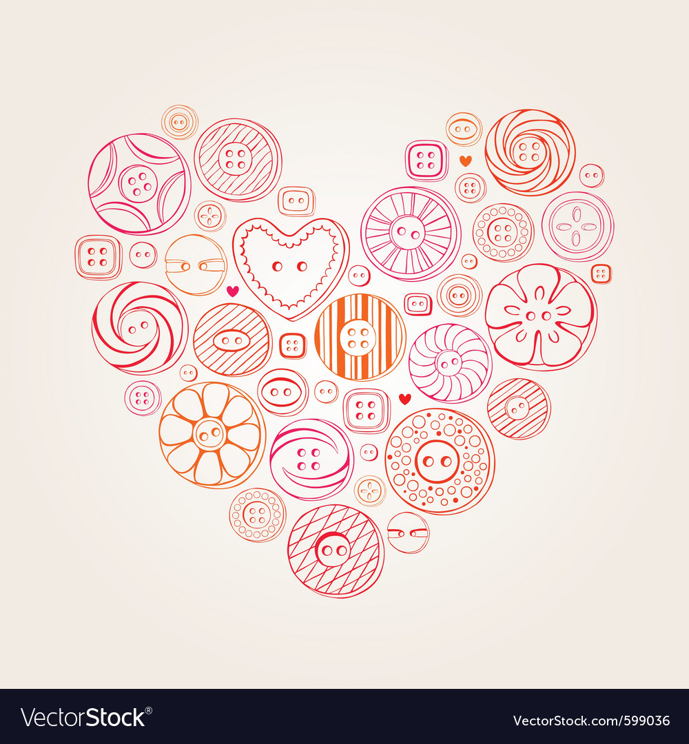 Valentine heart buttons vector