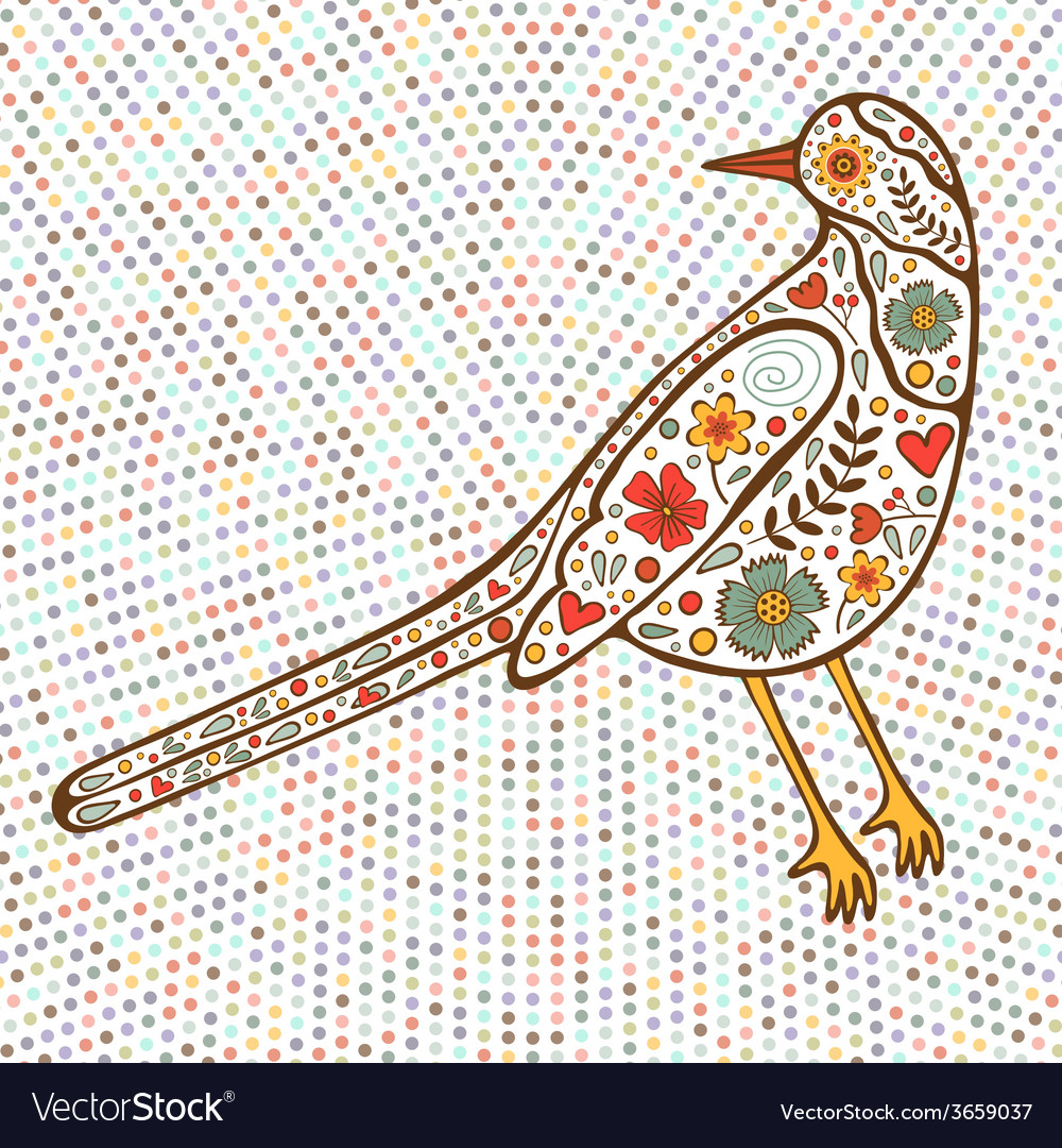 Bird on dotted background vector