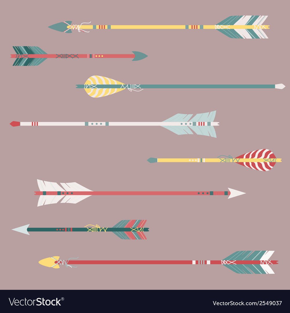 Set of colorful ethnic arrows vector