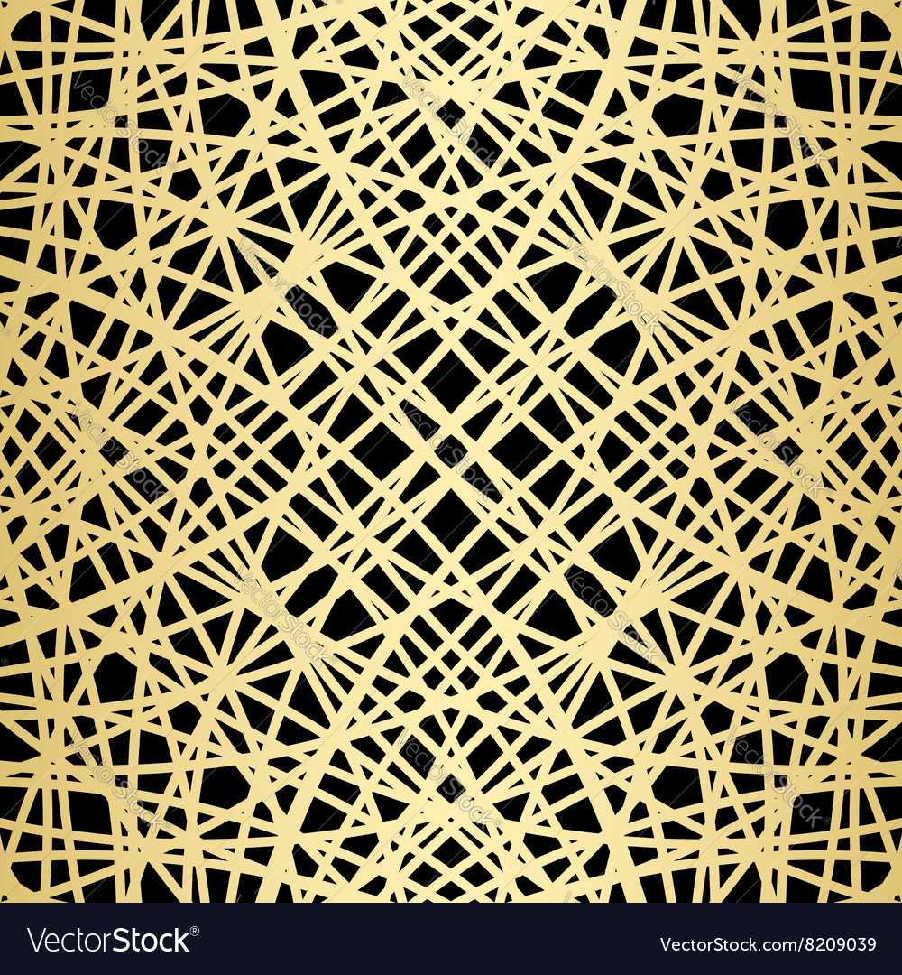 Gold pattern on black  crossed lines vector