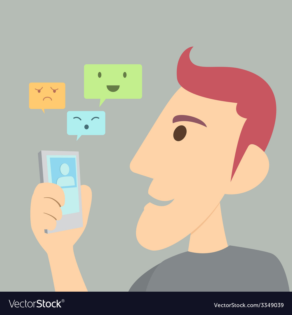 Man smart chat vector