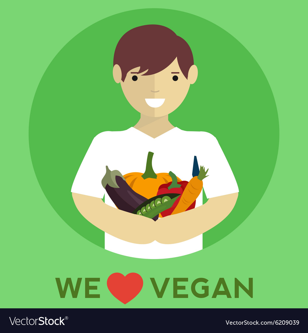 We love vegan vegan food vector
