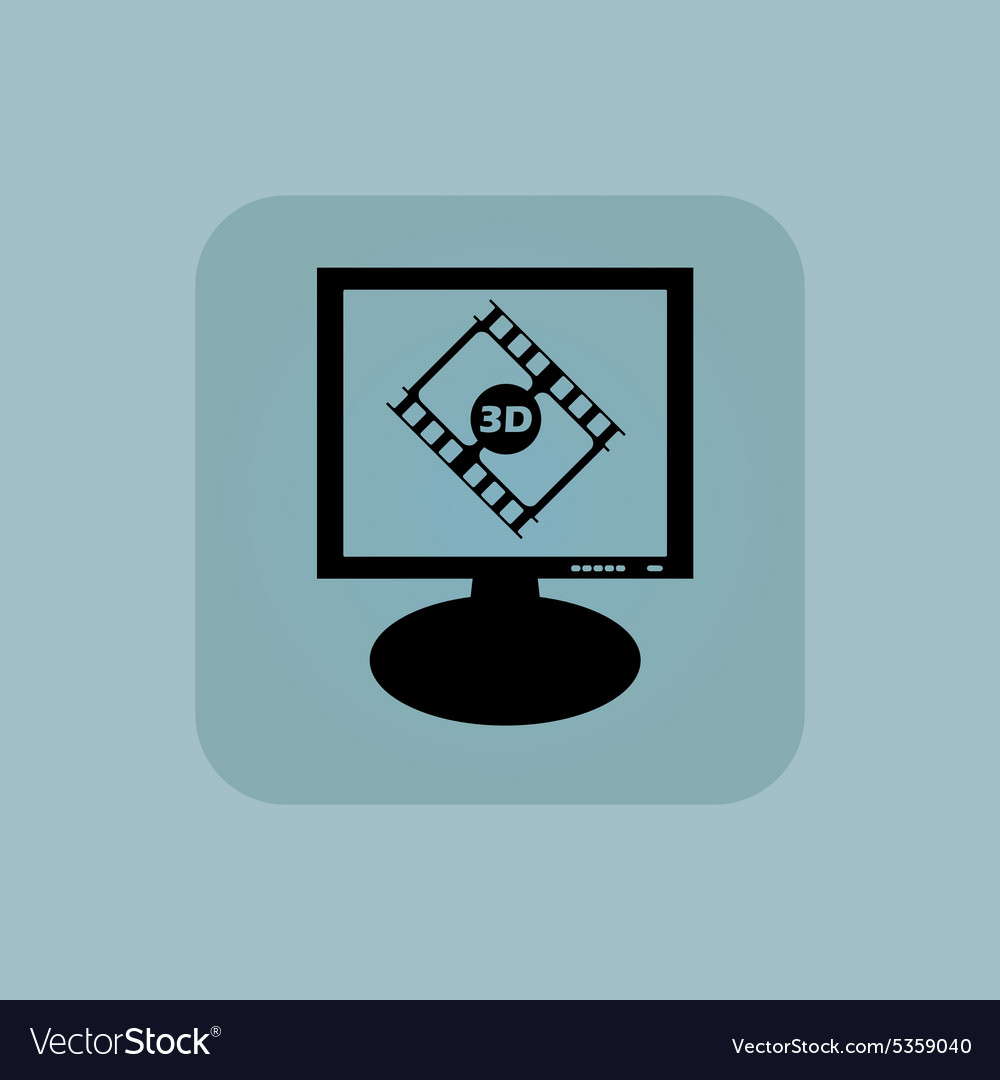 Pale blue 3d movie monitor vector