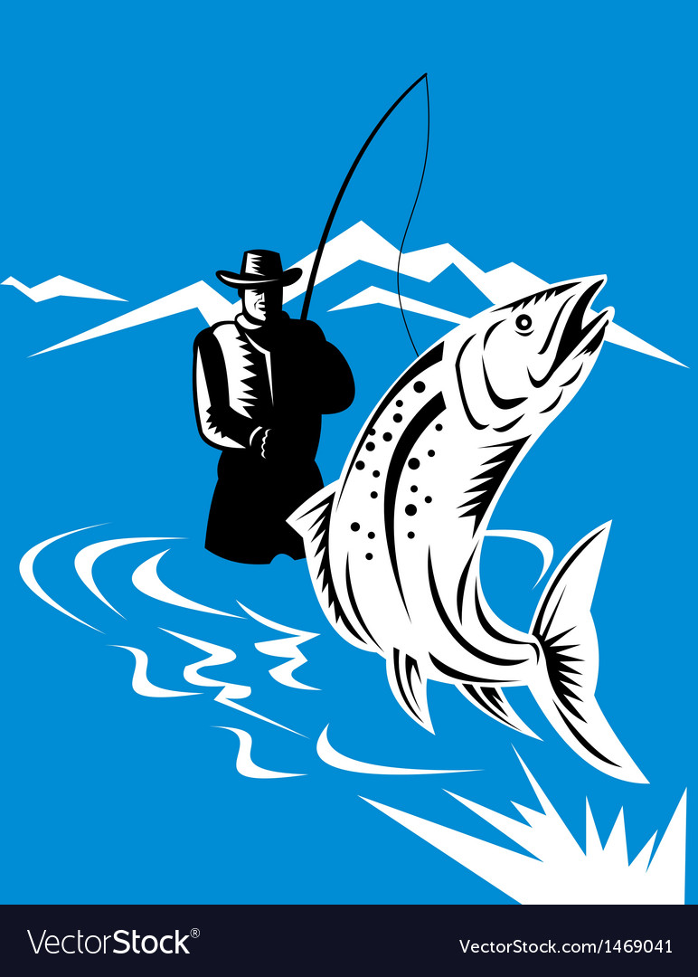 Trout fish jumping reeled by fly fisherman vector