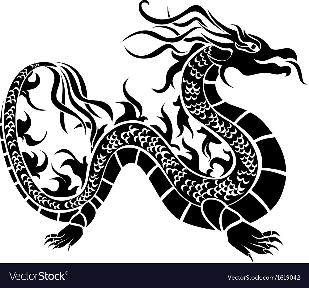 Asian dragon black stencil vector