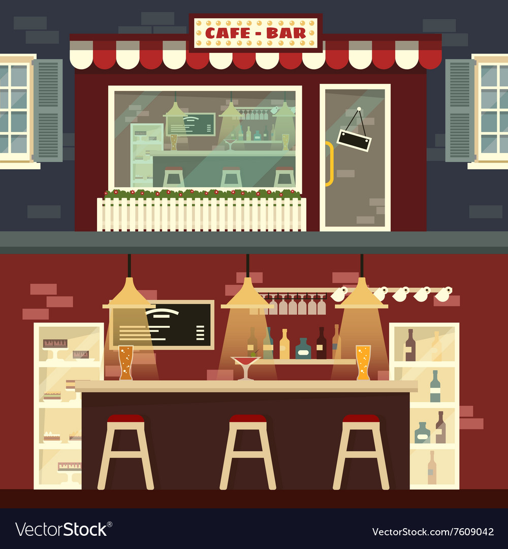 Cafebar facade and interior in flat style vector