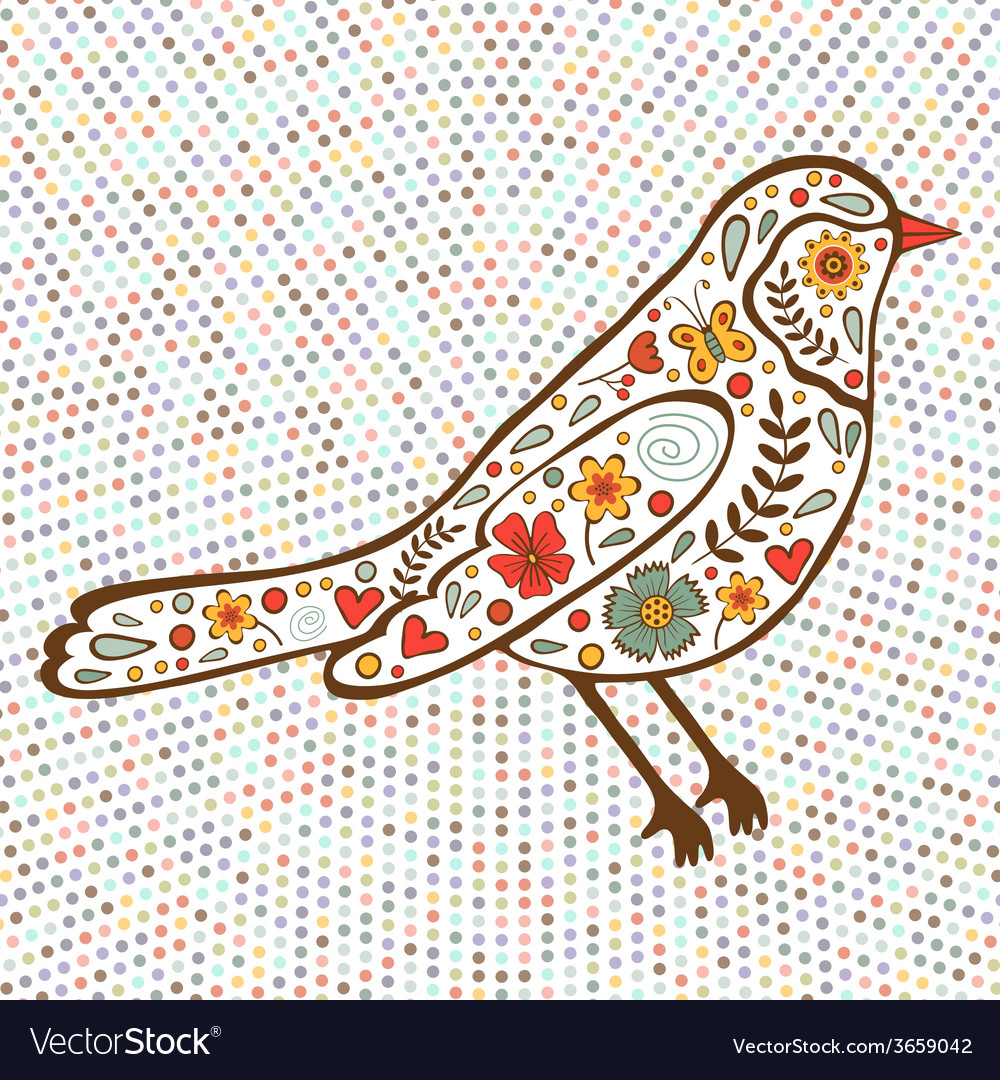 Colorful floral bird on dotted background vector