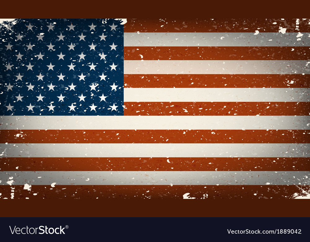 Grunge worn out american flag vector