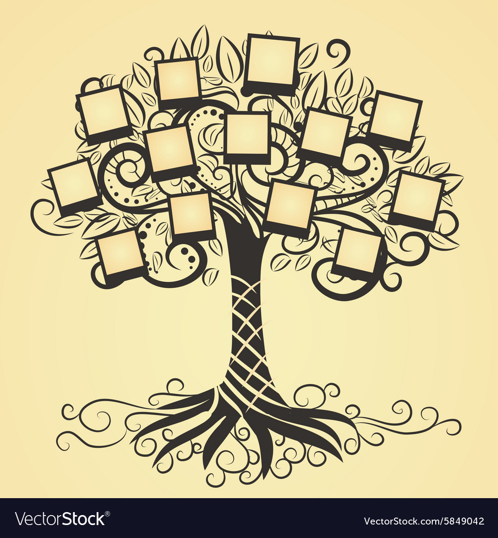 Memories tree with photo vector