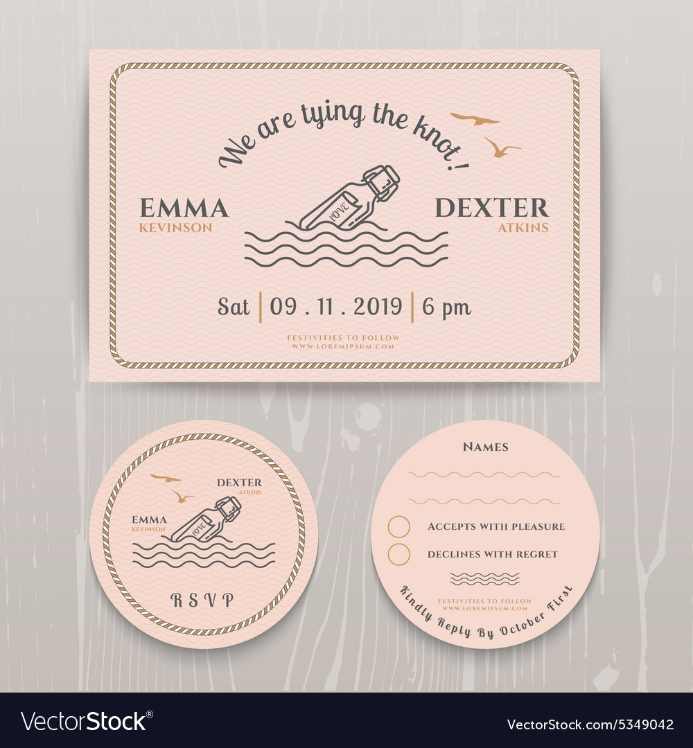 Nautical message in the bottle wedding invitation vector