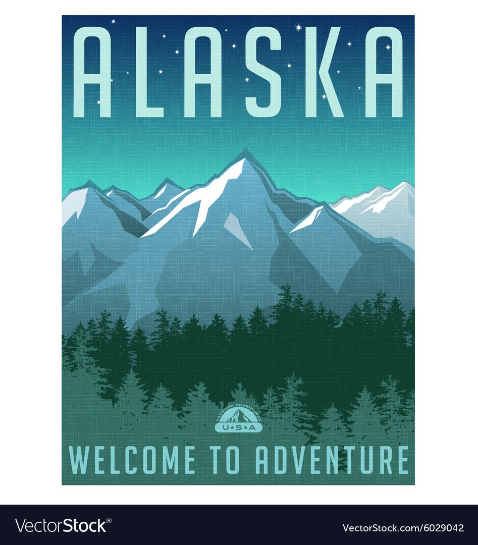 Retro style travel poster alaska vector