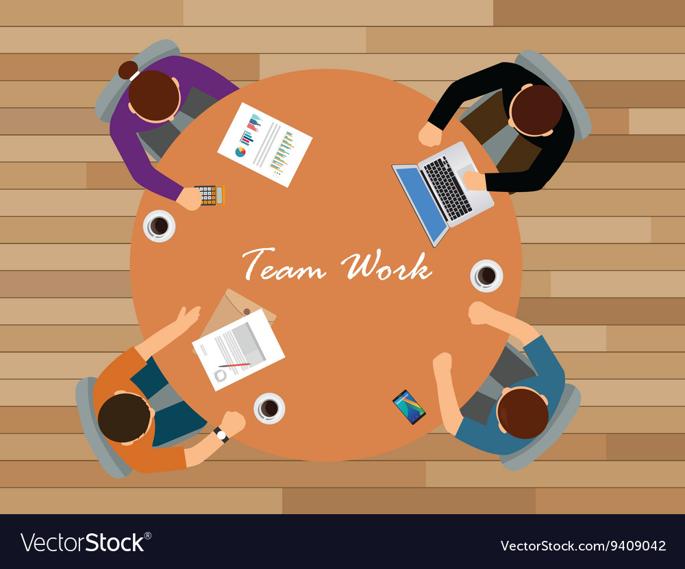Team work team work together view from top vector