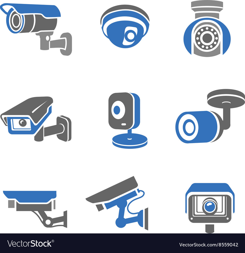 Video surveillance security cameras pictograms vector