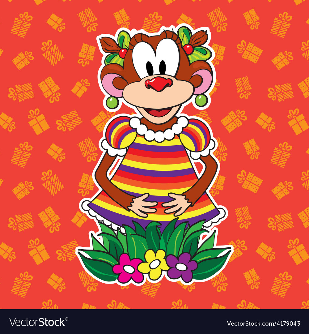 Monkey in dress on bright background vector