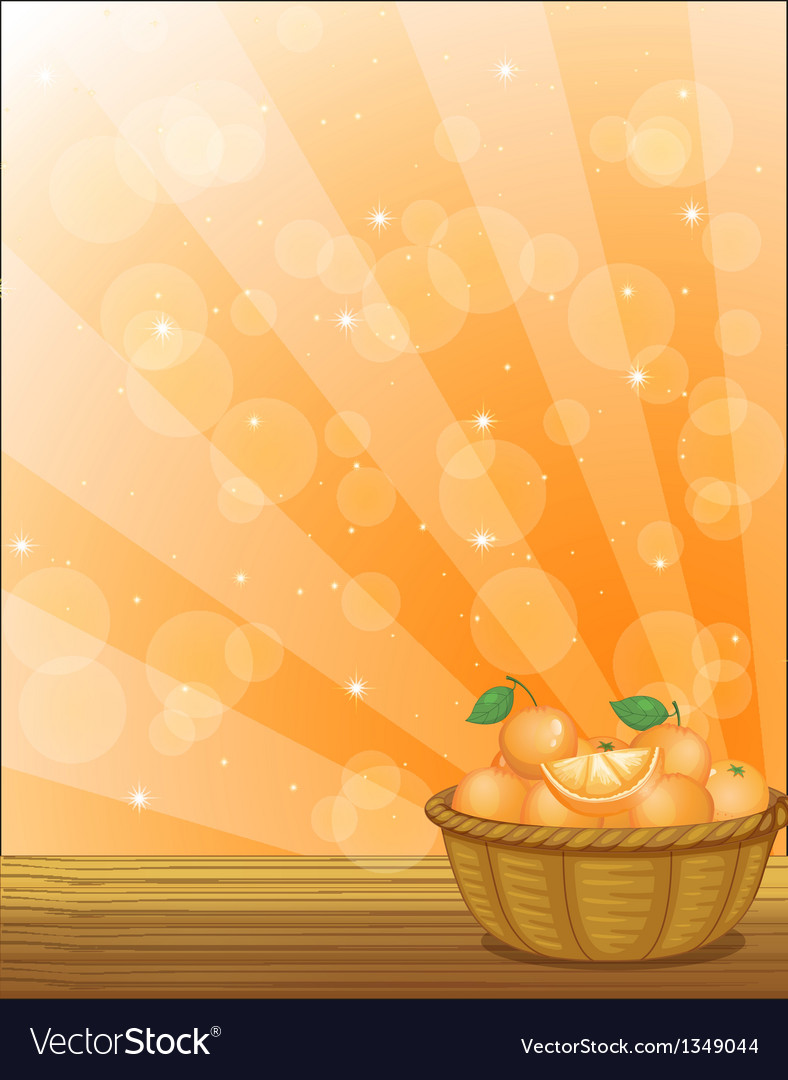 A basket full of oranges vector