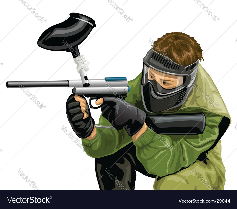 Paintball game player shooting vector