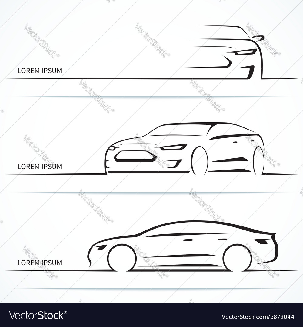 Set of luxury car silhouettes vector