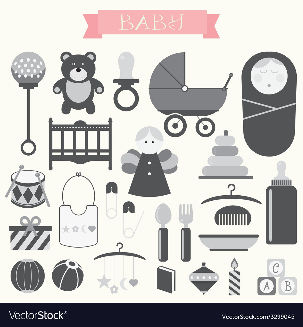 Babies and baby products vector