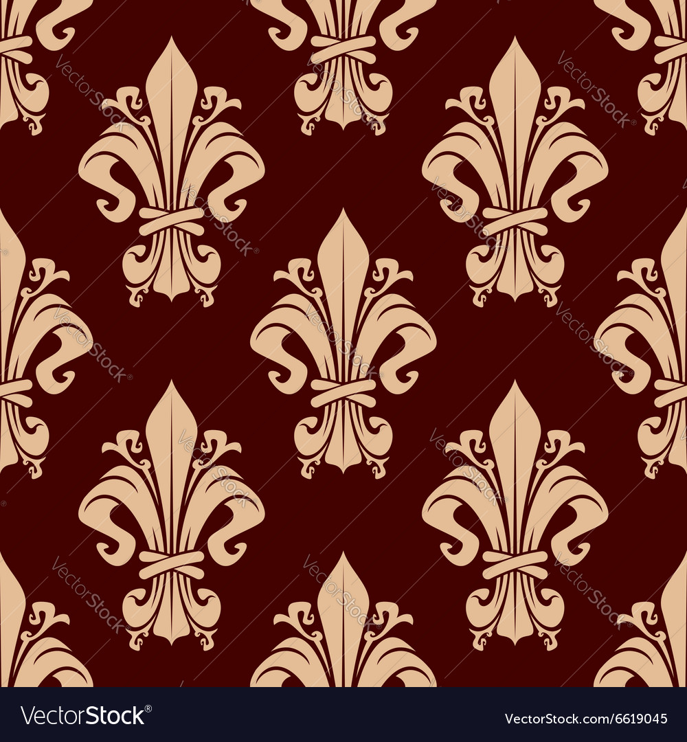 Brown vintage fleurdelis floral pattern vector