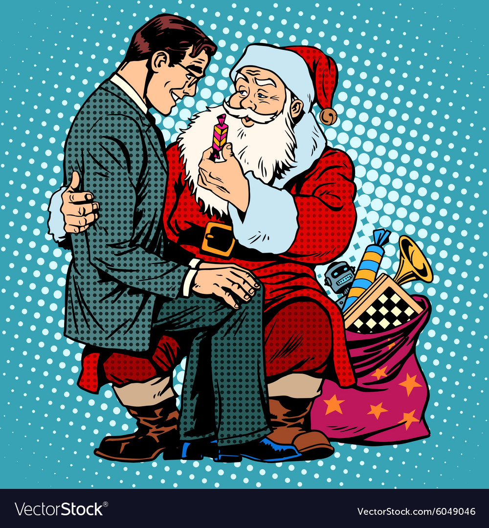 Christmas gift santa claus and businessman vector