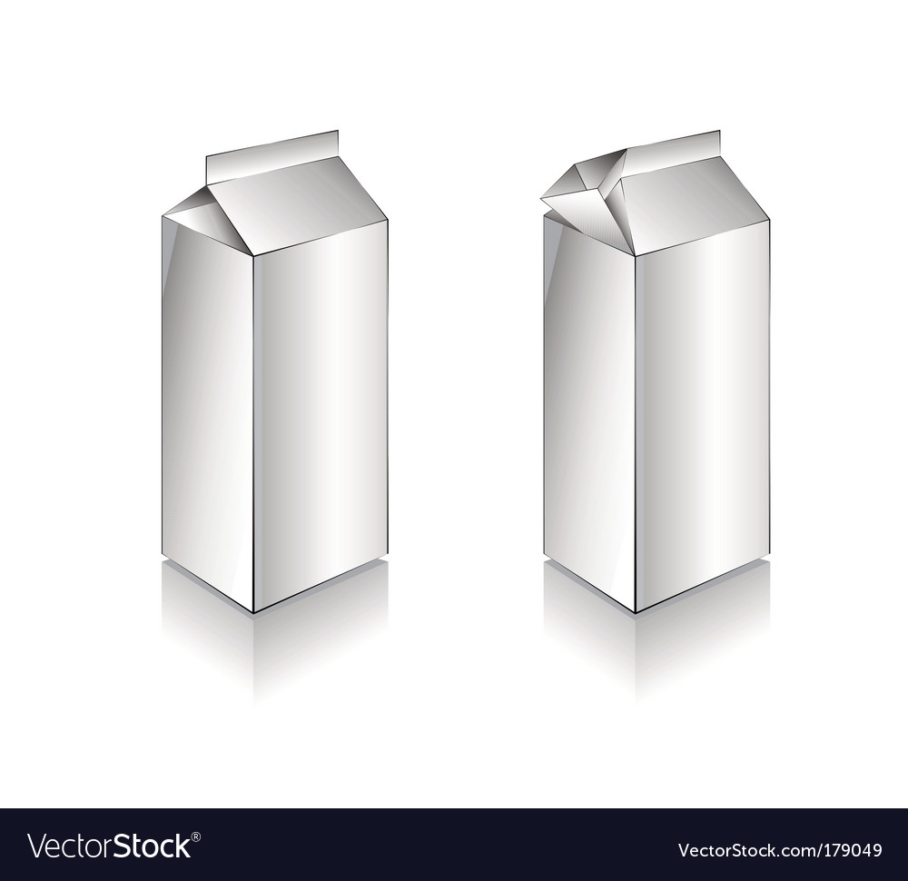 3d white milk box vector