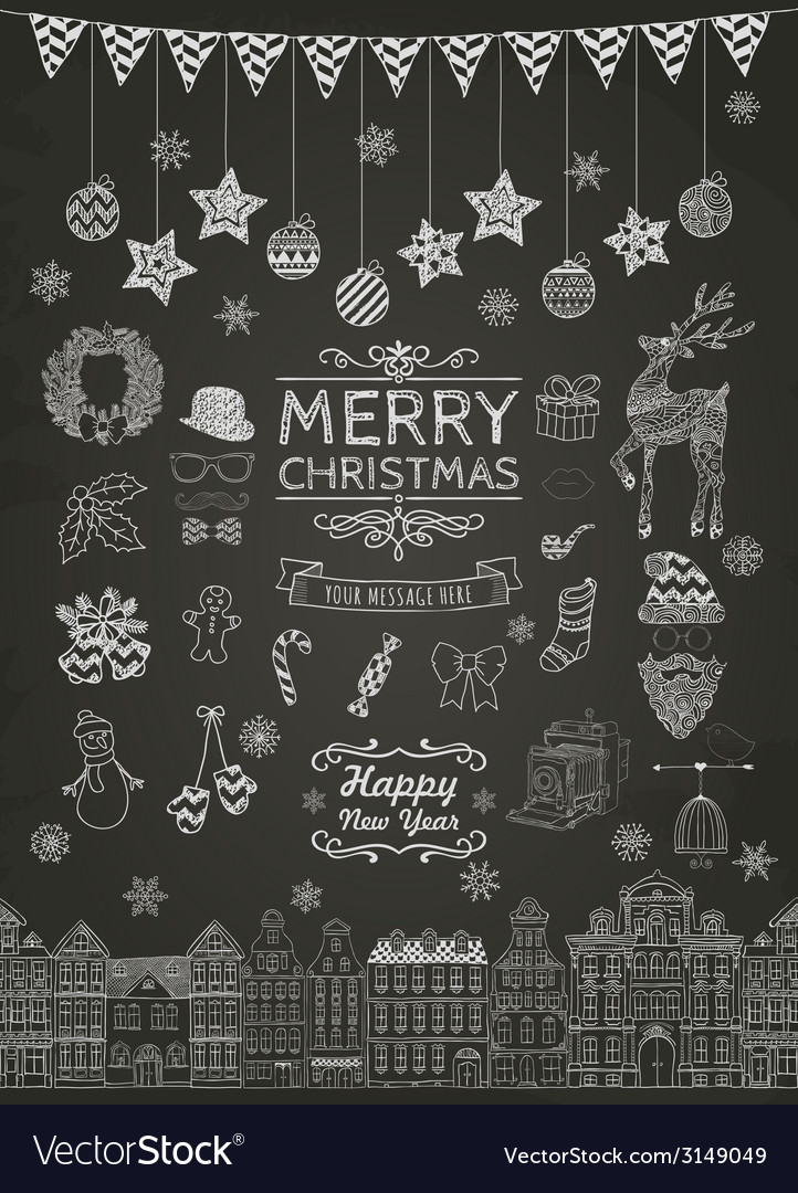 Set of handdrawn outlined christmas doodle icons vector