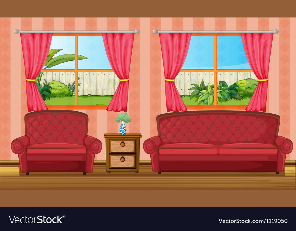 A red sofaset and side table vector