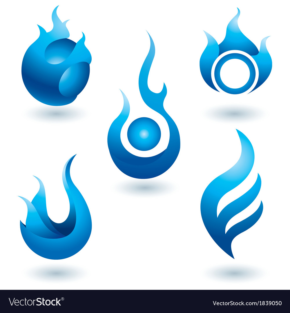 Blue fire symbol icon vector