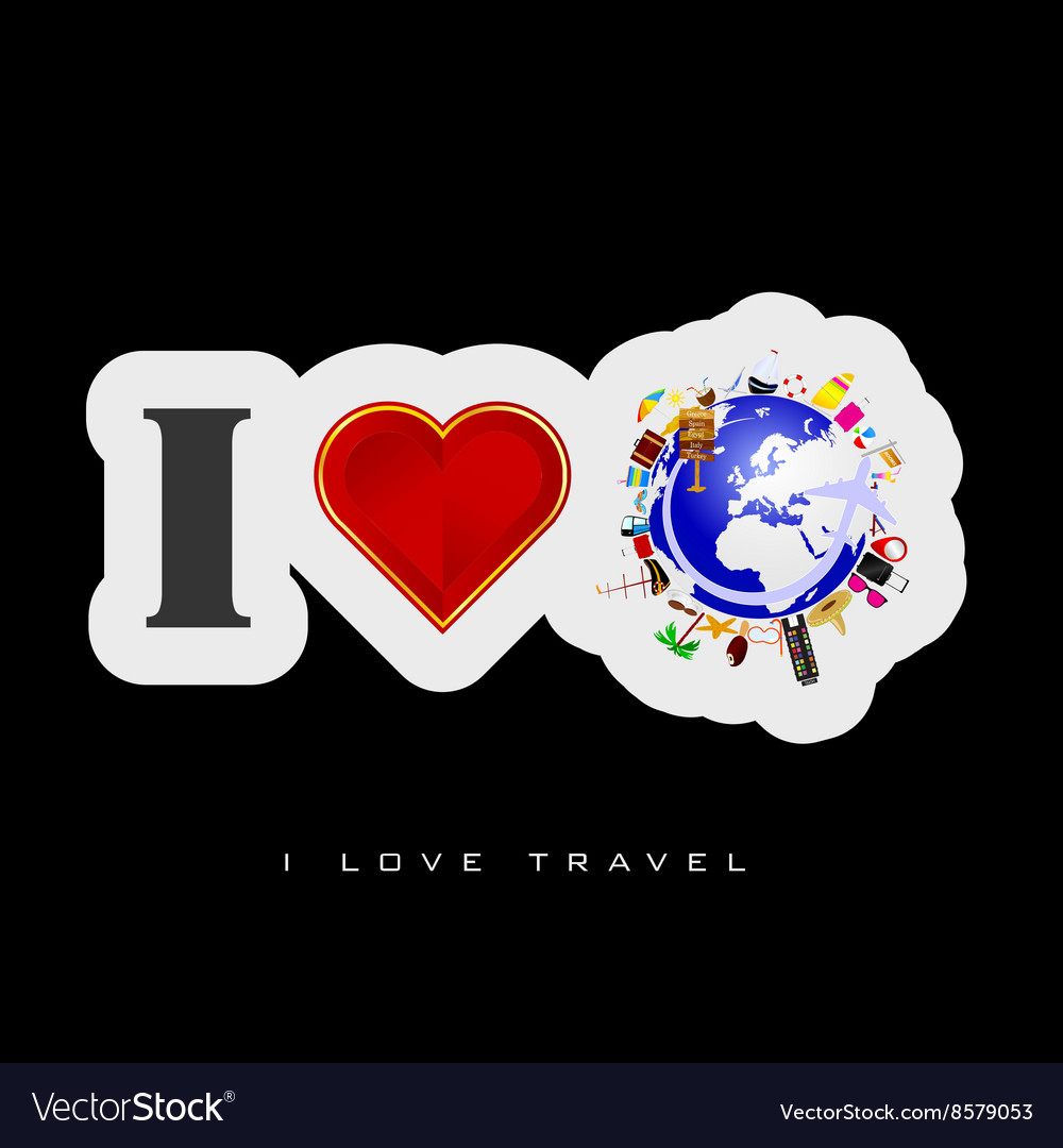 Love travel icon vector